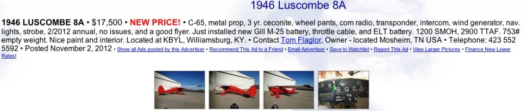 1946 luscombe 8a for sale