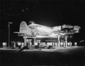 B17 bomber at night