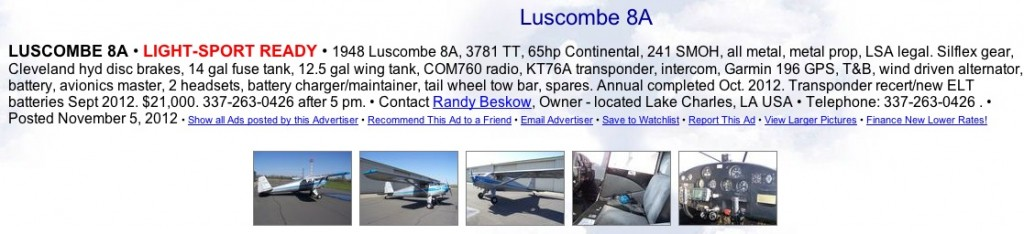 Luscombe 8A for sale