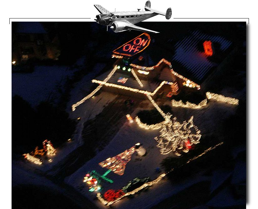 Christmas lights from an airplane