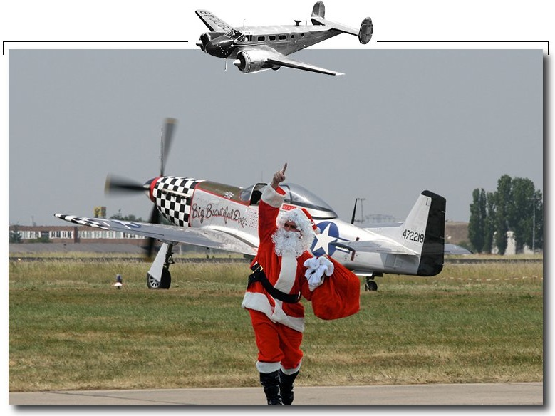 Santa Claus and his P-51 mustang