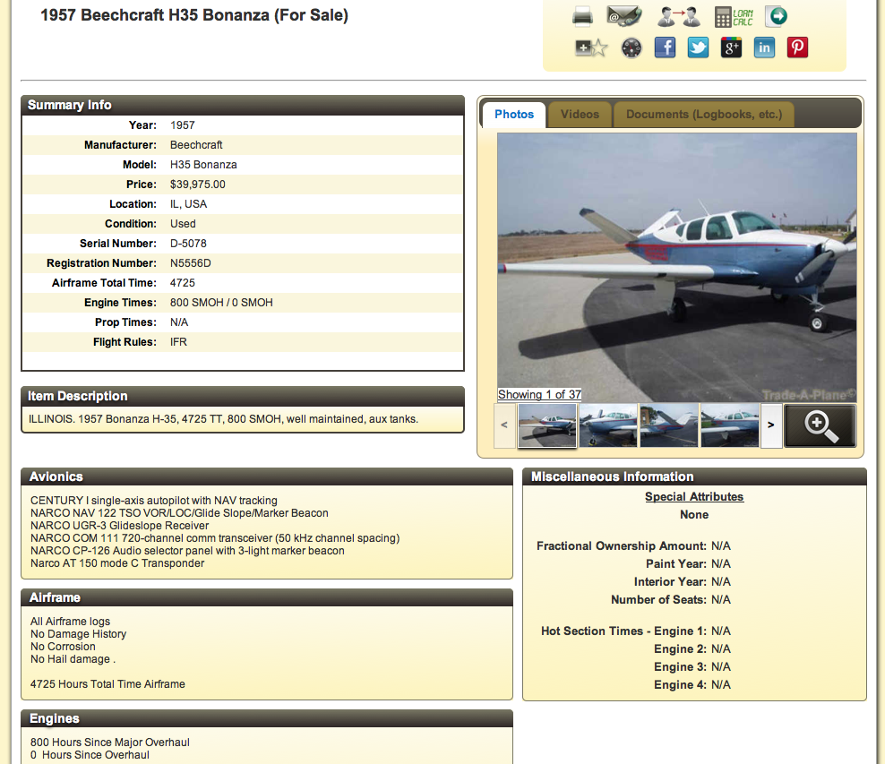 H35 v-tail beechcraft bonanza for sale