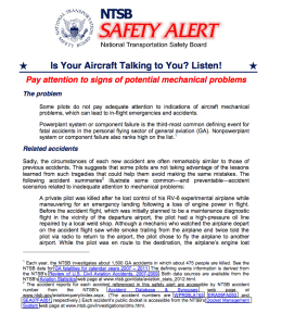 NTSB SA Is your aircraft talking to you
