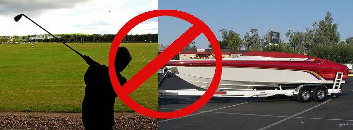 no boats or golf