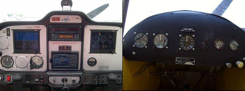 tecnam and J3 cockpits